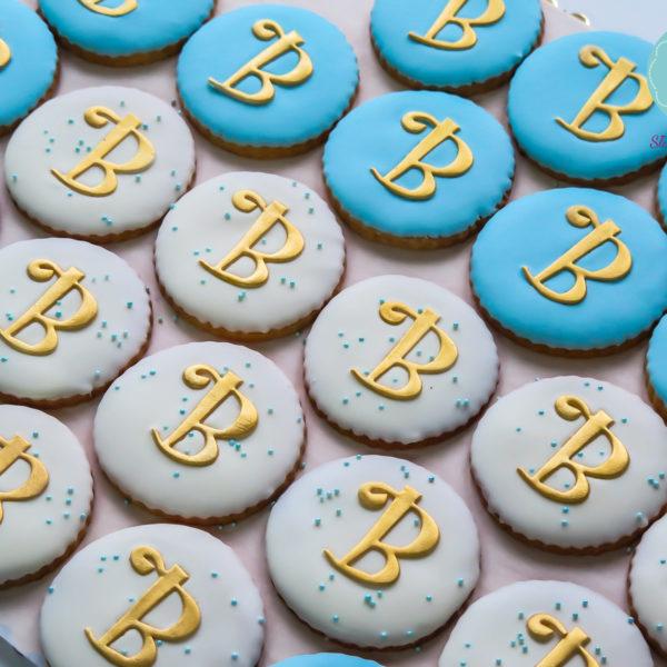C39 - ciastka, kruche, monogram, prezenty, słodki stół, kącik, candy, bar ,
