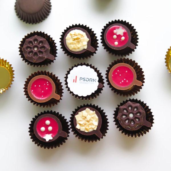 C81 - mini filiżanki czekoladowe, firmowe, dla firm, słodycze firmowe, reklamowe , personalizowane, psdrn, słodko stół,