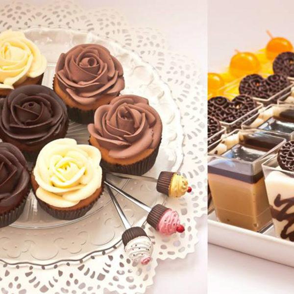C85 - cupcakes, muffiny, z kwiatami, słodki stół, kącik, candy, bar , róże, warszawa, z dostawą, na ślub, wesele