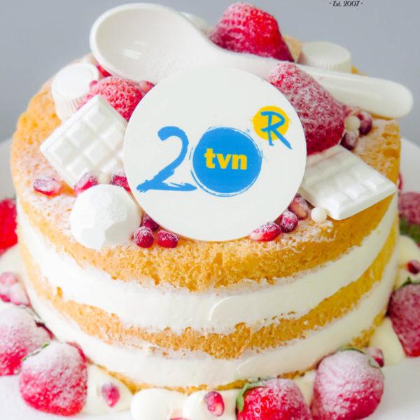 F12 - tort firmowy, dla firm, słodycze firmowe, reklamowe, personalizowane, tvn , 20 lat, cake, warszawa, bez masy cukrowej