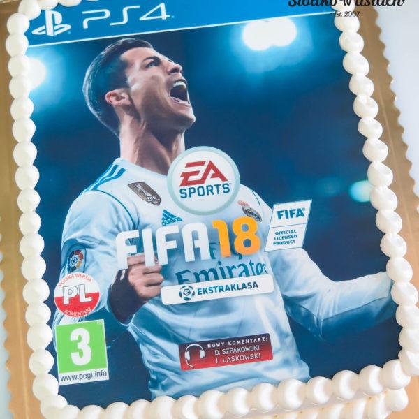 F37 - tort firmowy, piłka, dla firm, słodycze firmowe, reklamowe, personalizowane, electronic arts, ea , fifa, cristiano ronaldo, cr7, cake, słodko w ustach, warszawa