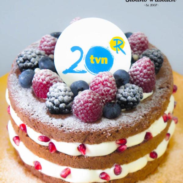 F60 - tort firmowy, dla firm, słodycze firmowe, reklamowe, personalizowane, tvn , 20 lat, cake, warszawa, bez masy cukrowej
