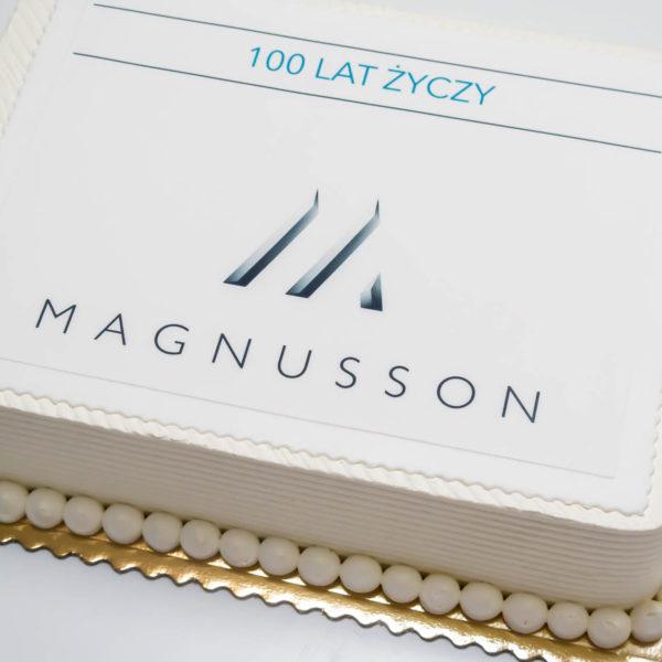 F70 - tort firmowy, dla firm, słodycze firmowe, reklamowe, personalizowane, magnusson , cake, warszawa, bez masy cukrowej