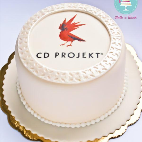 F87 - tort firmowy, dla firm, słodycze firmowe, reklamowe, personalizowane, cd projekt , cake, warszawa, z dostawą