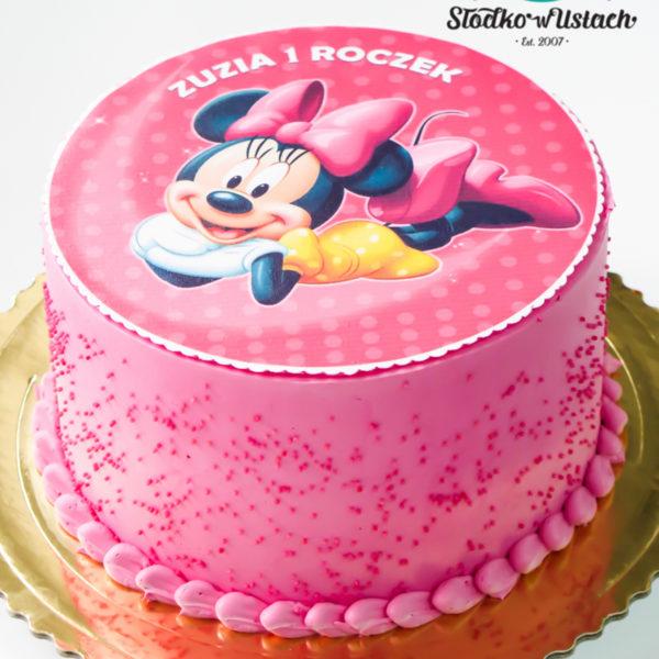 K10 - tort, klasyczny, myszka minnie, z wydrukiem, ze zdjęciem, warszawa, z dostawą, urodzinowy, dla dzieci, słodko w ustach