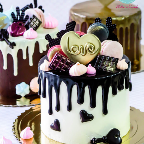 K14 - tort, drip, cake, z bezami,, bezy, bez masy cukrowej, urodzinowy, warszawa, z dostawą, birthday, oblewany, z polewą, love