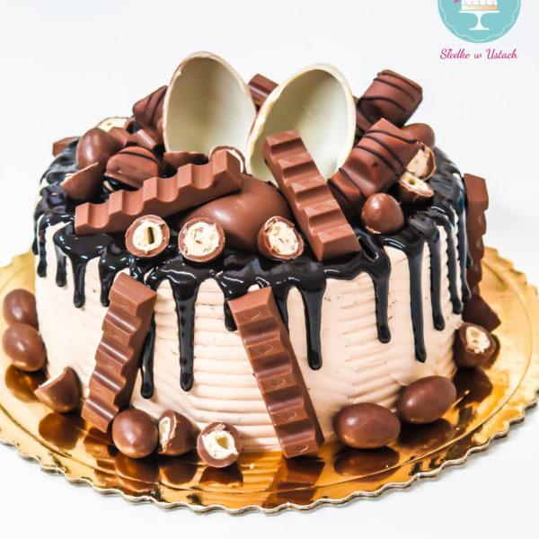 K16 - tort, drip, cake, bez masy cukrowej, urodzinowy, warszawa, z dostawą, birthday, oblewany, z polewą, kinder