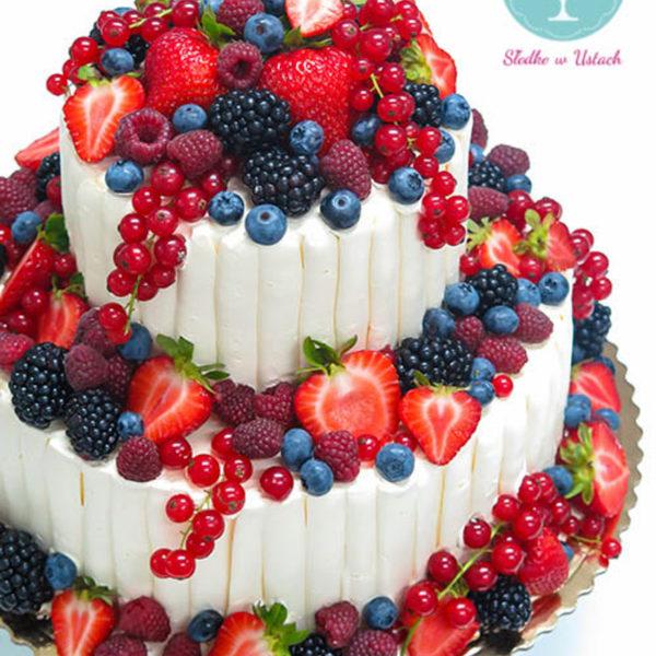 K3 - tort klasyczny, urodzinowy, z owocami, truskawki, maliny, z dostawą, wyjątkowy, bez masy cukrowej, birthday, cake