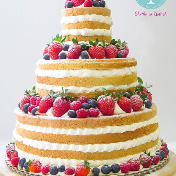 K4- tort, klasyczny, naked, urodzinowy, z owocami, truskawki, maliny, z dostawą, wyjątkowy, bez masy cukrowej, birthday, cake