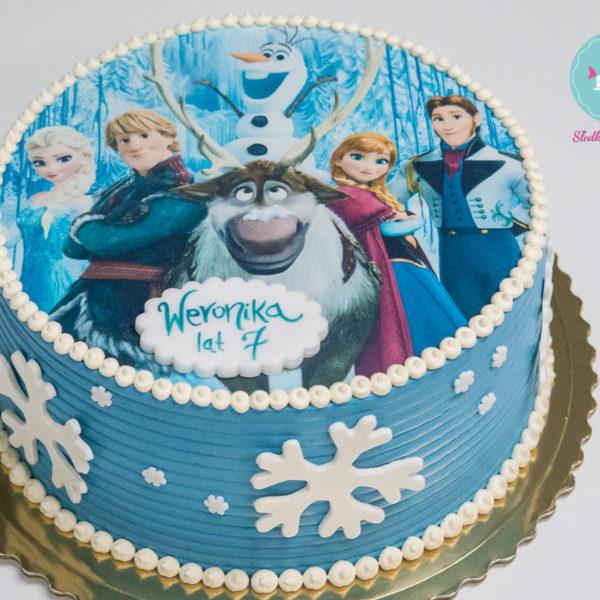 K7 - tort, klasyczny, kraina lodu, frozen, ze zdjęciem, z wydrukiem, warszawa, z dostawą, urodzinowy, dla dzieci