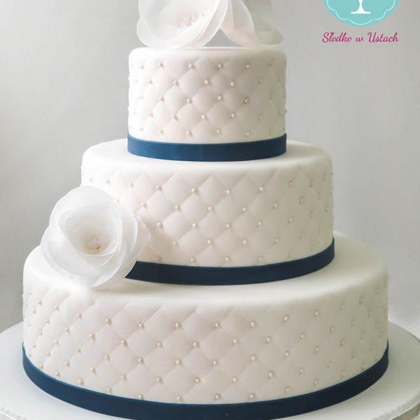 KCH16 - tort na komunię, komunijny ,chrzciny ,chrzest, piętrowy, z kwiatami, pikowany