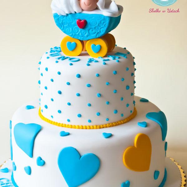 KCH17 - tort na chrzciny, chrzest, dla chłopca, wózek, christening, cake,