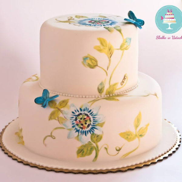 KCH18 - tort na komunię, komunijny ,chrzciny ,chrzest, artystyczny, piętrowy, z kwiatami, ręcznie malowany, z motylami
