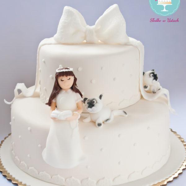 KCH21 - tort na komunie, dla dziewczynki, komunijny, communion, cake, warszawa, z dostawą, wilanów