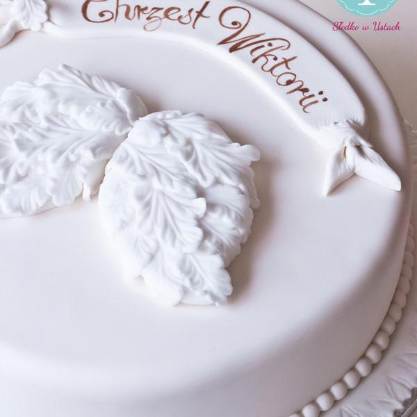 KCH22 - tort na chrzciny, chrzest, dla dziewczynki, skrzydła, biały ,prosty, christening, cake, warszawa