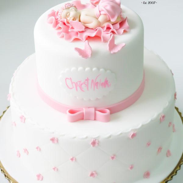 KCH24 - tort na chrzciny, chrzest, dla dziewczynki, z motylami, dzidziuś christening, cake, warszawa