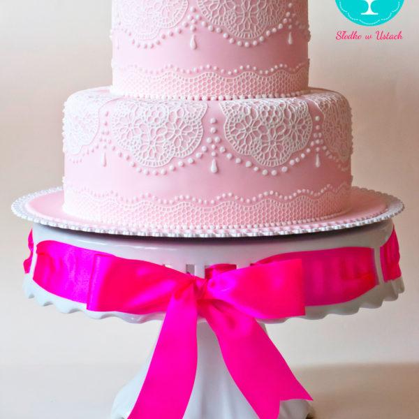 KCH25 - tort na chrzciny, chrzest, koronka, dla dziewczynki, christening, cake, warszawa, różowy