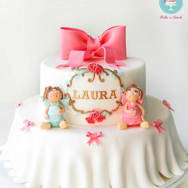 KCH26 - tort na chrzciny, chrzest, dla dziewczynki, z aniołkami, christening, cake, warszawa, wilanów, dostawa