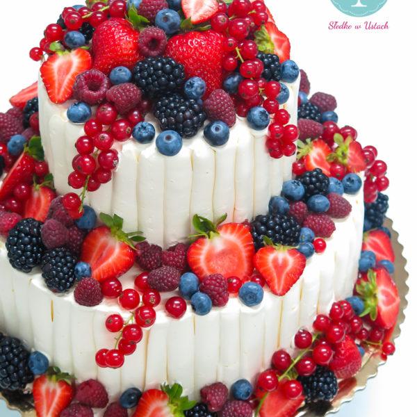 KCH28 - tort na komunię, komunijny ,chrzciny ,chrzest, piętrowy, z owocami, słodko w ustach