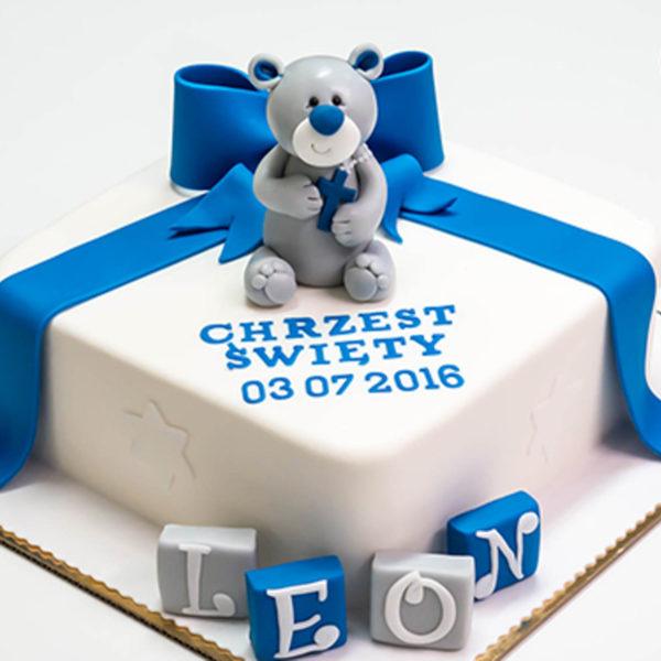 KCH3 - tort na chrzciny, chrzest, dla chłopca, z misiem, christening, cake, konstancin jeziorna