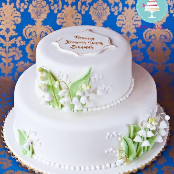 KCH30 - tort na komunię, komunijny, artystyczny, dla dziewczynki, z konwaliami, z kwiatami, elegancki, biały , cake, warszawa
