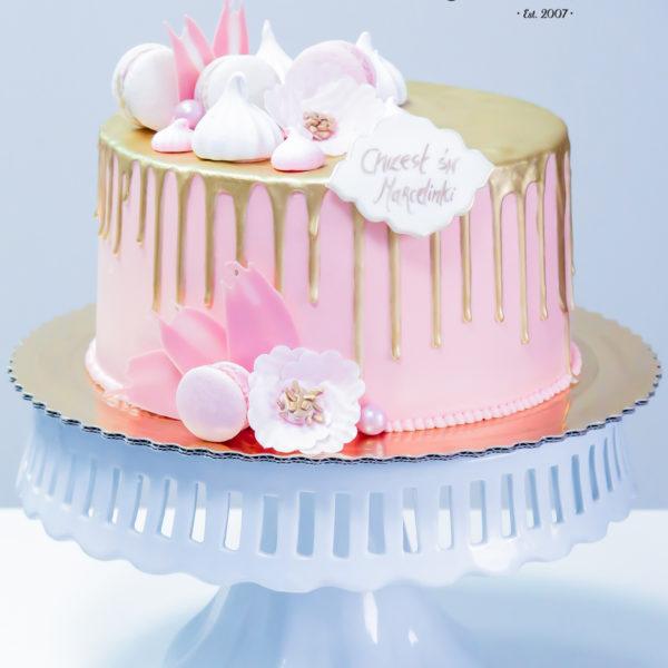 KCH32 - tort na komunię, komunijny ,chrzciny ,chrzest, bez masy cukrowej, z kwiatami, drip