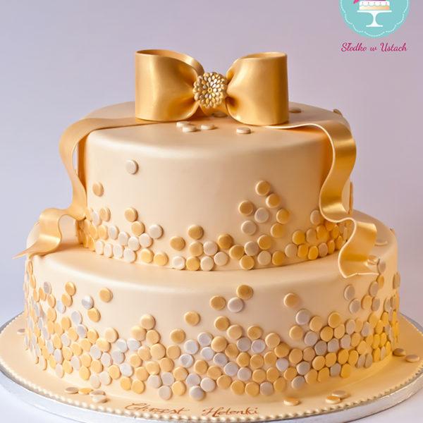 KCH33 - tort na chrzciny, chrzest, artystyczny, wstążka złocony, comunnion, złoty,