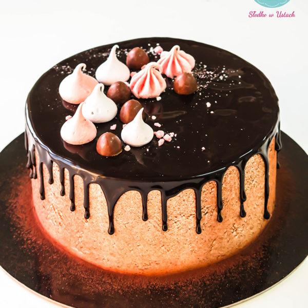 KCH34 - tort na komunię, komunijny ,chrzciny ,chrzest, bez masy cukrowej, z bezami, drip