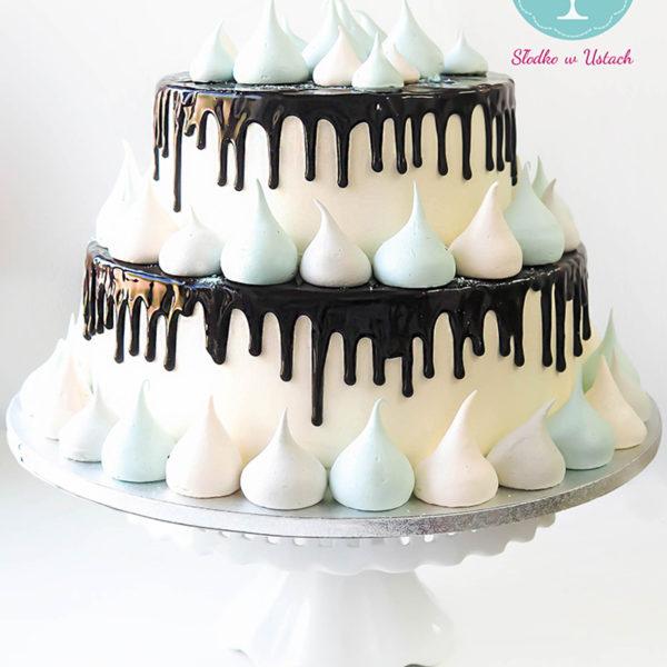 KCH35 - tort na komunię, komunijny ,chrzciny ,chrzest, bez masy cukrowej, z bezami, drip