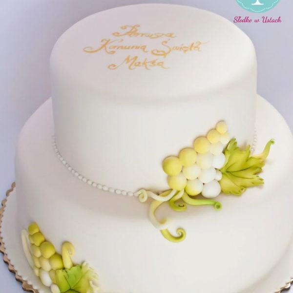 KCH37 - tort na komunie, dla chłopca, komunijny, winogrona, biały, prosty, communion, cake, warszawa, z dostawą, piaseczno