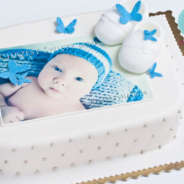 KCH5 - tort na chrzciny, chrzest, ze zdjęciem, buciki, christening, cake, warszawa, słodko w ustach