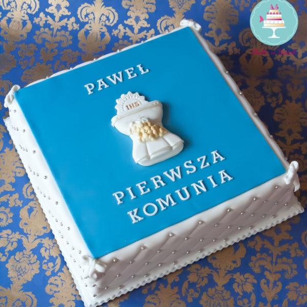 KCH8 - tort na komunie, dla chłopca, komunijny, communion, cake, warszawa, z dostawą, piaseczno, pracownia słodyczy niezwykłych