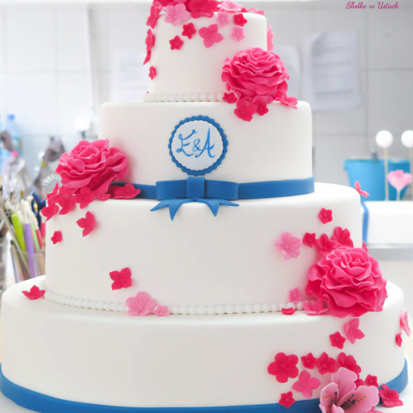 S14 - tort na ślub, wesele, ślubny, weselny, biel, elegancki, piętrowy , z kwiatami, cake, piaseczno, z dostawą