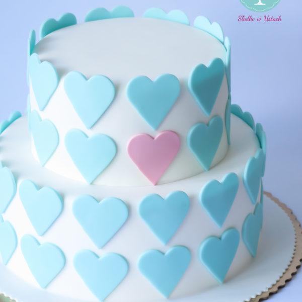 S16 - tort na ślub, wesele, ślubny, weselny, elegancki, piętrowy , serca, cake, piaseczno, z dostawą