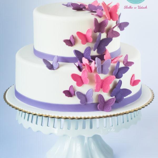 S19 - tort na ślub, wesele, ślubny, weselny, elegancki, piętrowy , motyle , cake, piaseczno, z dostawą