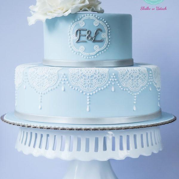 S2 - tort na ślub, wesele, ślubny, weselny, artystyczny, koronkowy, monogram, kwiaty, elegancki, piętrowy , cake, warszawa, z dostawą