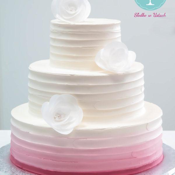 S22 - tort na ślub, wesele, ślubny, weselny, multikolor, elegancki, piętrowy , z kwiatami, cake, piaseczno, z dostawą, ombre
