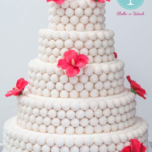 S23 - tort na ślub, wesele, ślubny, weselny, biel, elegancki, piętrowy , z kwiatami, kwiaty, raffaello, cake, piaseczno, z dostawą,