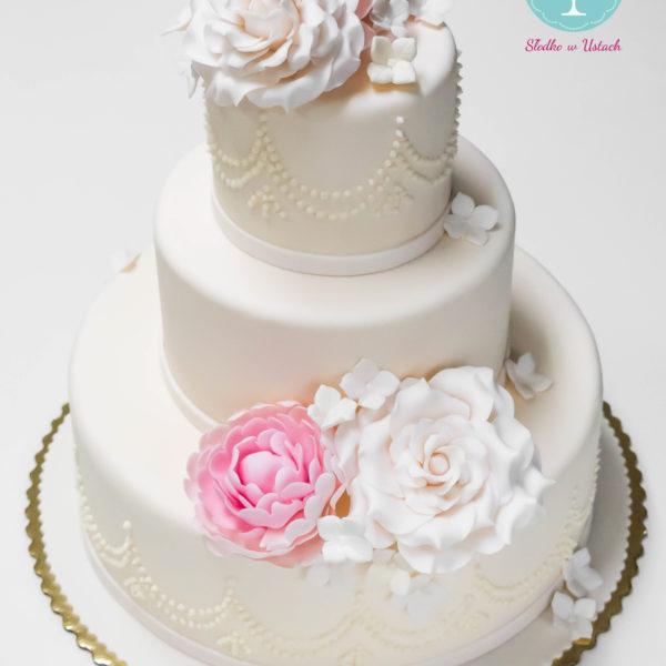 S28 - tort na ślub, wesele, ślubny, weselny, biel, elegancki, piętrowy , z kwiatami, kwiaty, cake, piaseczno, z dostawą, ornament, peonie, piwonie , róże