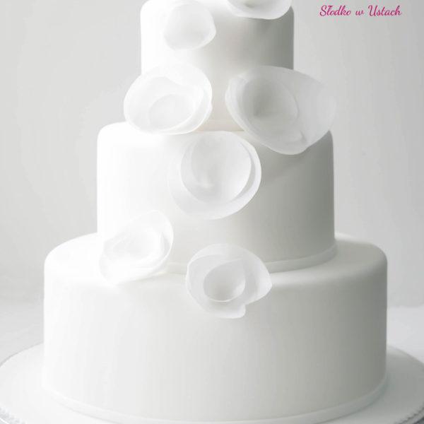 S3 - tort na ślub, wesele, ślubny, weselny, biel, elegancki, piętrowy , z kwiatami, cake, piaseczno, z dostawą