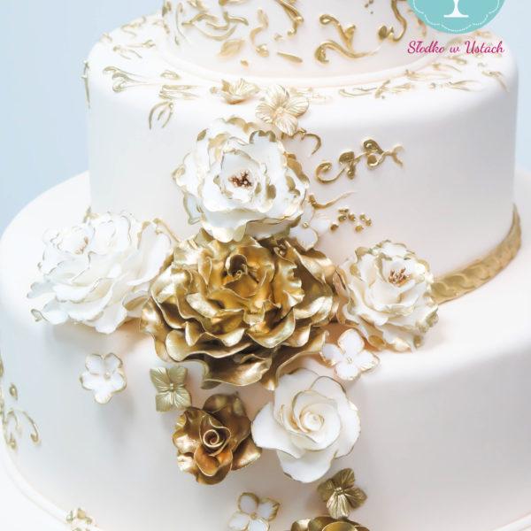 S30 - tort na ślub, wesele, ślubny, weselny, biel, elegancki, piętrowy , z kwiatami, kwiaty, cake, piaseczno, z dostawą, pikowanie, róże, hortensje, złocony, złoto