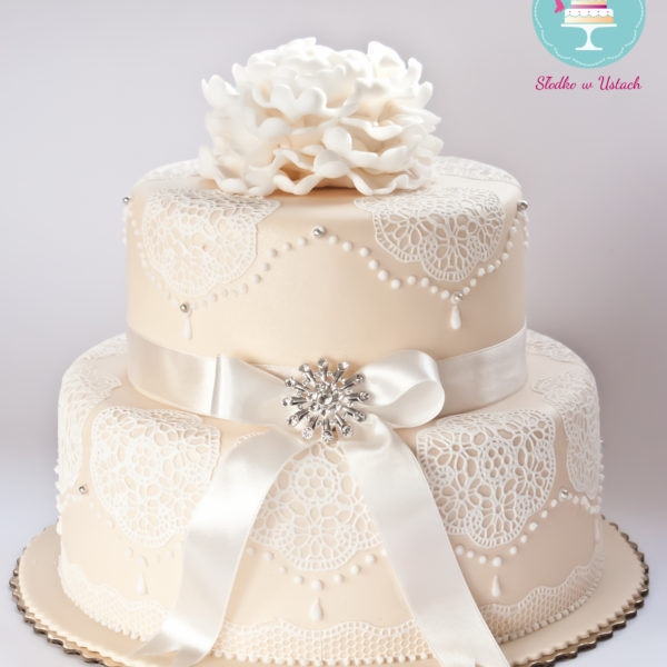 S34 - tort na ślub, wesele, ślubny, weselny, koronkowy, elegancki, piętrowy , cake, warszawa, konstancin jeziorna, z dostawą,
