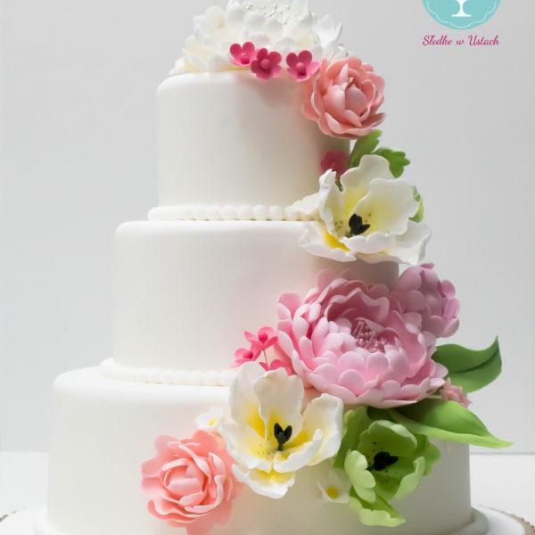 S35 - tort na ślub, wesele, ślubny, weselny, artystyczny, elegancki, piętrowy, kwiaty, z kwiatami, peonie, piwonie, tulipany