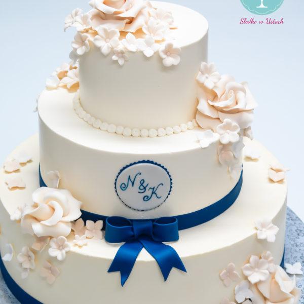 S37 - tort na ślub, wesele, ślubny, weselny, biel, elegancki, piętrowy , z kwiatami, kwiaty, monogram, cake, warszawa, z dostawą, róże, hortensje,