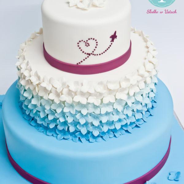 S38 - tort na ślub, wesele, ślubny, weselny, multikolor, elegancki, piętrowy , z kwiatami, cake, warszawa, z dostawą, ombre