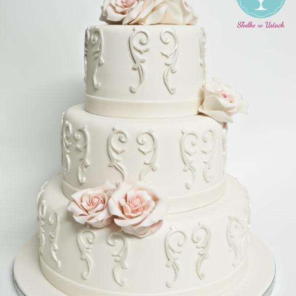 S41 - tort na ślub, wesele, ślubny, weselny, ecru, elegancki, piętrowy , z kwiatami, kwiaty, cake, warszawa, z dostawą, ornament , róże