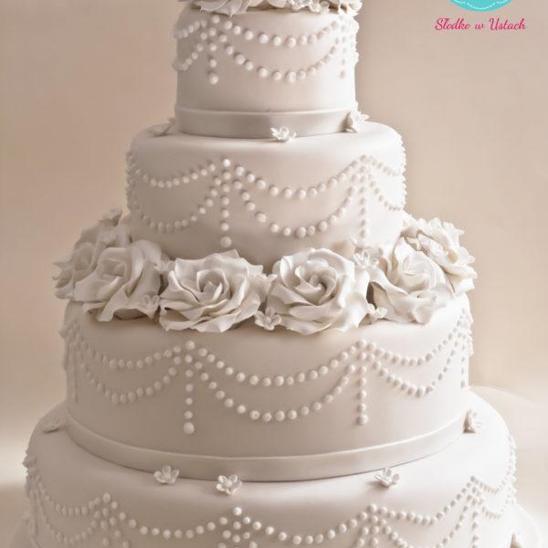 S43 - tort na ślub, wesele, ślubny, weselny, artystyczny, elegancki, piętrowy , z kwiatami, kwiaty, cake, warszawa, z dostawą, ornament, ecru, róże