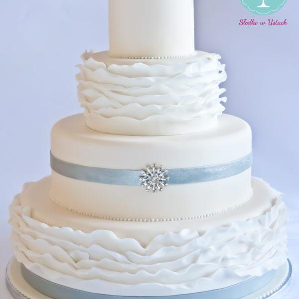 S44 - tort na ślub, wesele, ślubny, weselny, elegancki, piętrowy , falbanki, cake, warszawa, z dostawą,
