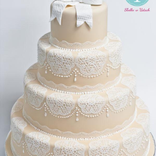 S45 - tort na ślub, wesele, ślubny, weselny, koronkowy, elegancki, piętrowy , cake, warszawa, z dostawą