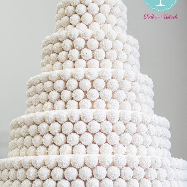 S47 - tort na ślub, wesele, ślubny, weselny, biel, elegancki, piętrowy , raffaello, cake, warszawa, z dostawą,